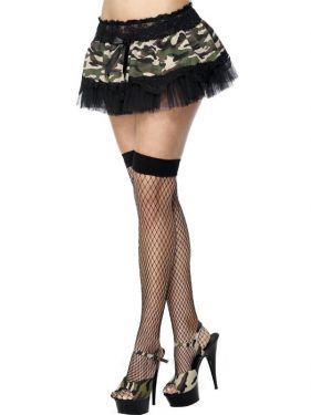 Ladies Fancy Dress - Black/Camo 80s Tutu